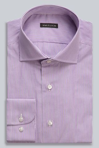 mauve striped shirt slim french collar Angelico