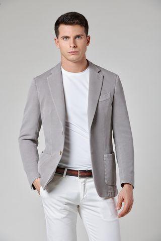 giacca grigio chiaro cotone tinto capo armatura slim Angelico
