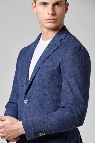 giacca blu melange lana-cotone-lino slim Angelico