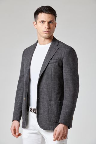 giacca grigia melange lana-cotone-lino slim Angelico