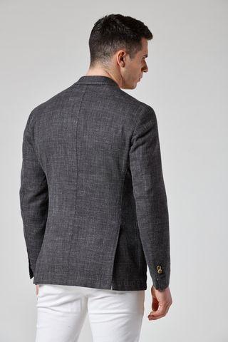 grey melange unlined jacket wool-cotton-linen slim Angelico