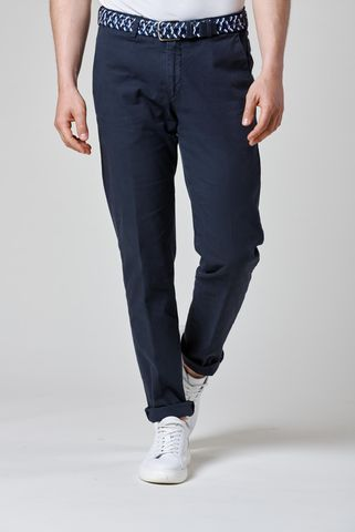 Navy trousers fine structured stretch cotton Angelico
