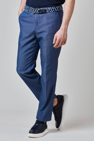 bluette cotton trousers fine structured cotton Angelico