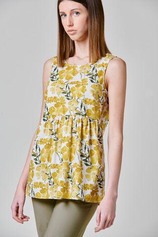 top giallo fiorato sbracciato cotone Angelico