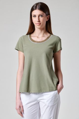 militar t-shirt rhinestone border and tulle Angelico
