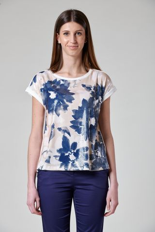white t-shirt floral blue sequin front Angelico