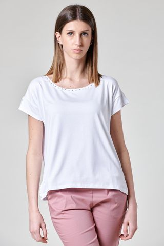 white viscose t-shirt with studs Angelico