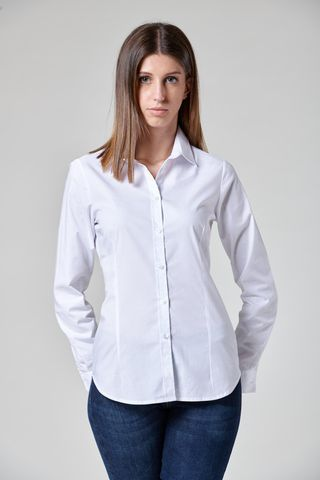white stretch cotton shirt long sleeves Angelico