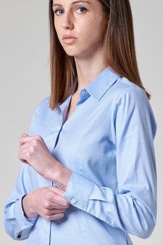 camicia azzurra oxford elasticizzato donna Angelico