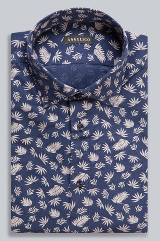 Camicia blu fantasia beige foglie Angelico