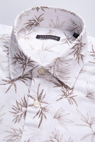 camicia bianca fantasia beige palme Angelico