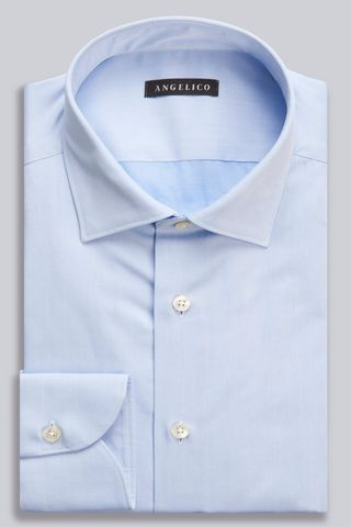 azure twill shirt italian collar slim Angelico