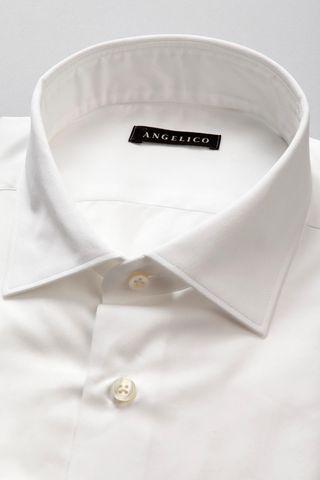 camicia bianca twill collo italiano slim Angelico