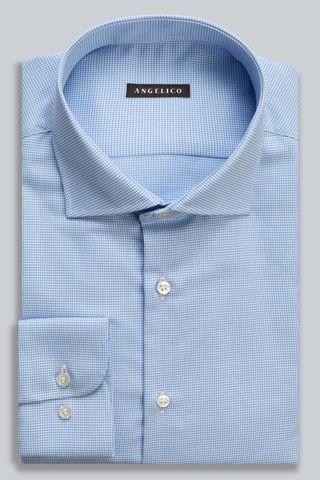 camicia azzurra microdisegno rombi Angelico