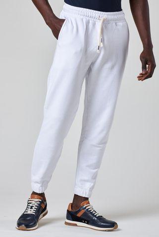 White fleece trousers elastic cuff leg Angelico
