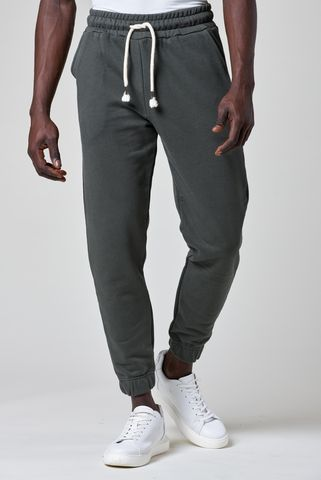 Green fleece trousers elastic cuff leg Angelico