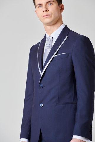abito cerimonia blu fantasia bordi raso e cravatta slim Angelico