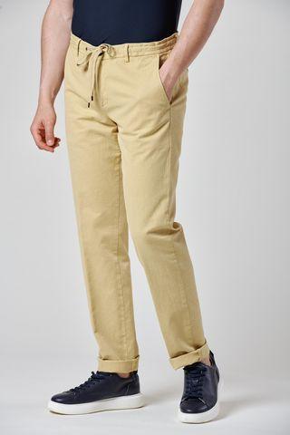 pantalone senape coulisse cotone-lino slim Angelico