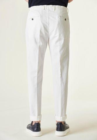 pantalone bianco coulisse cotone-lino slim Angelico