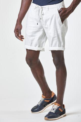 Bermuda bianco cotone-lino coulisse Angelico