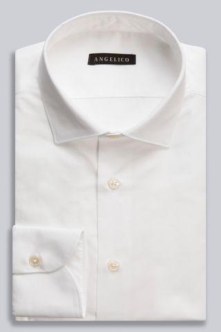 camicia bianca twill collo italiano Angelico