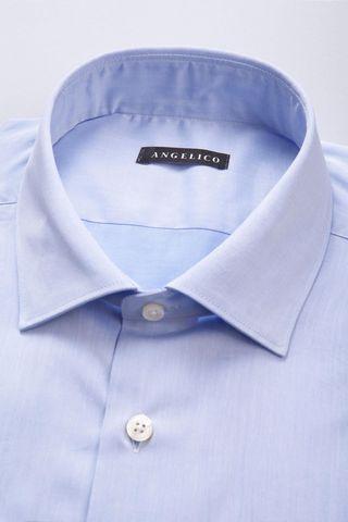 camicia azzurra twill collo italiano Angelico
