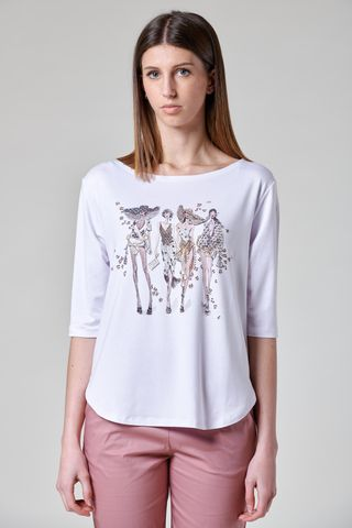 white viscose t-shirt with models print Angelico