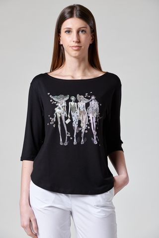 black t-shirt with models print rhinestones Angelico