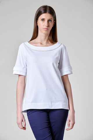 white t-shirt with beads Angelico