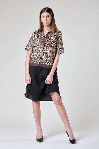Animalier black linen dress short sleeves Angelico