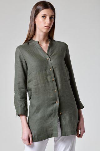 camicia militare lino coreana lunga Angelico