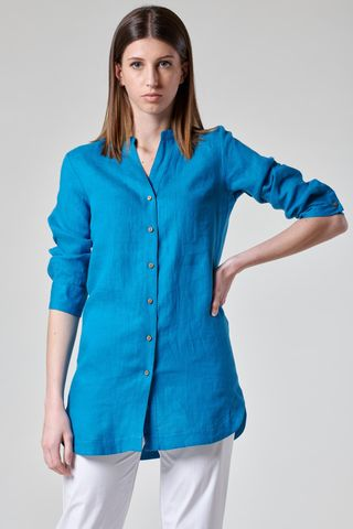 turquoise long korean linen shirt Angelico
