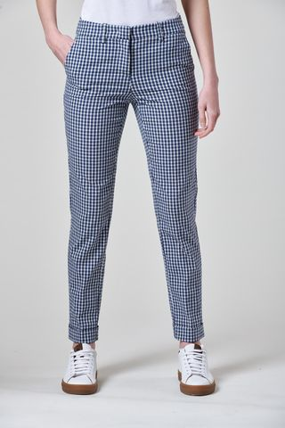 Blue-white checkered pants with turn-up Angelico
