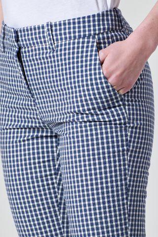 pantalone blu-bianco quadretti con risvolto Angelico