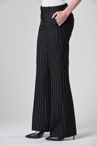 pantalone nero gessato zampa Angelico