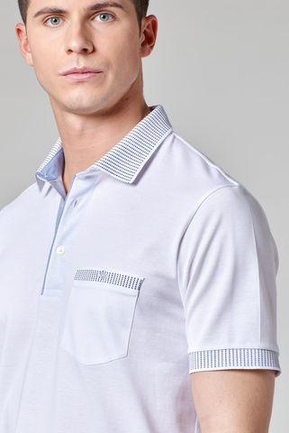 white lisle polo blue striped collar Angelico