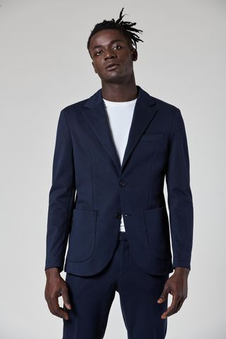 giacca blu 2 bottoni jersey stretch slim Angelico