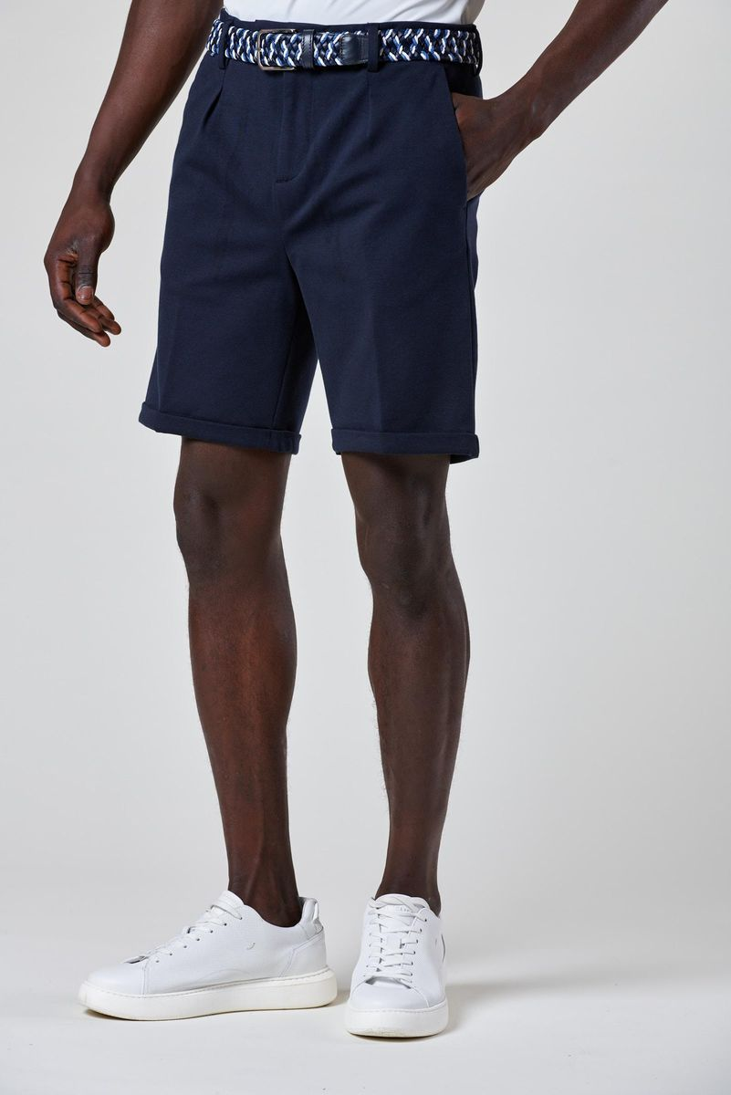 bermuda blu jersey pince e coulisse Angelico