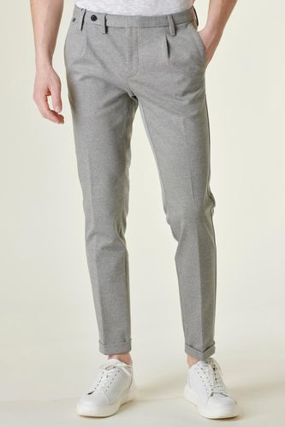 pantalone grigio jersey stretch 1pince slim Angelico
