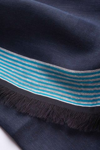navy linen-silk scarf with turquoise stripes Angelico