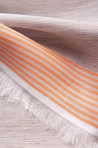 natural linen-silk scarf with orange stripes Angelico