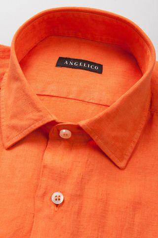 camicia arancione lino tinto capo Angelico