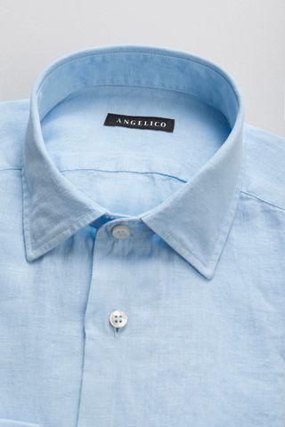 camicia azzurra lino tinto capo Angelico
