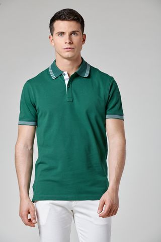 green polo with yellow striped collar Angelico
