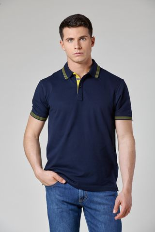 navy polo with yellow striped collar Angelico