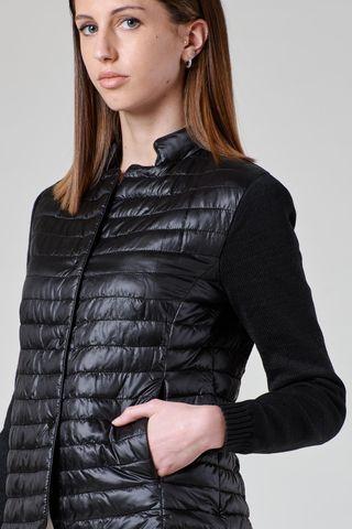 giacchina nera eco-piuma maniche maglia Angelico