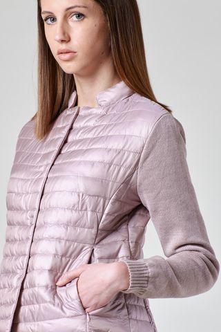 giacchina rosa cipria eco-piuma maniche maglia Angelico