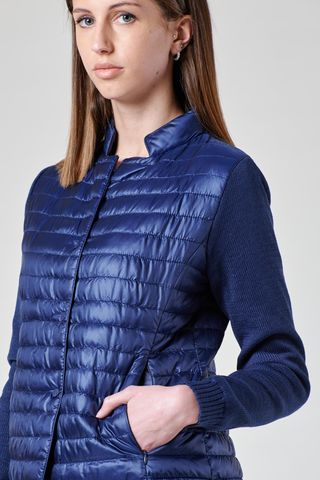 giacchina blu eco-piuma maniche maglia Angelico