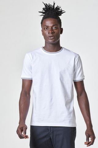 White t-shirt with blue striped rib collar Angelico