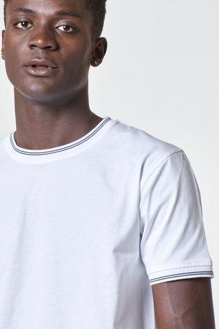 t-shirt bianca collo rigato blu costina Angelico